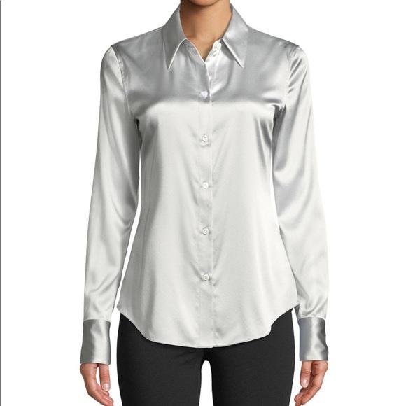 9a5ca75f27b THEORY Silk Perfect Fit Satin Blouse Shirt. M_5c11e7ec12cd4afb3cb377e5